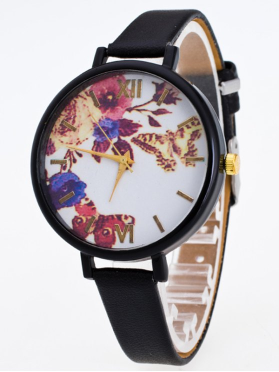 Faux Leather Flower Butterfly Watch - BLACK  Mobile