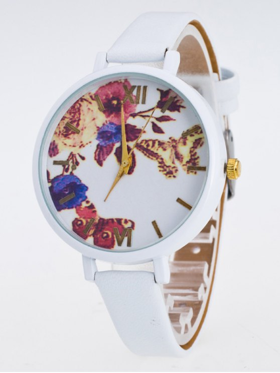 Faux Leather Flower Butterfly Watch - WHITE  Mobile