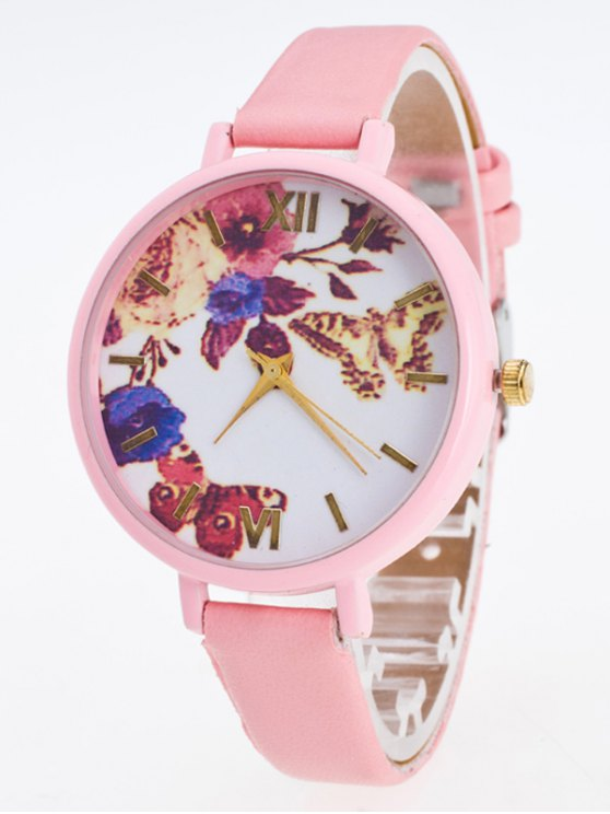 Faux Leather Flower Butterfly Watch - PINK  Mobile