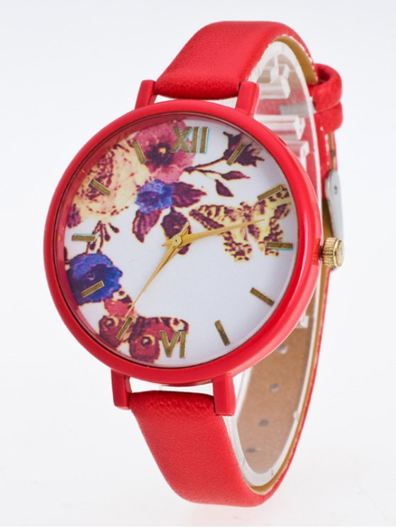 Faux Leather Flower Butterfly Watch - RED  Mobile