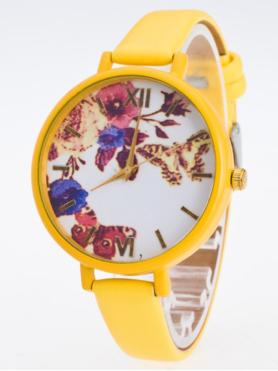Faux Leather Flower Butterfly Watch - YELLOW  Mobile