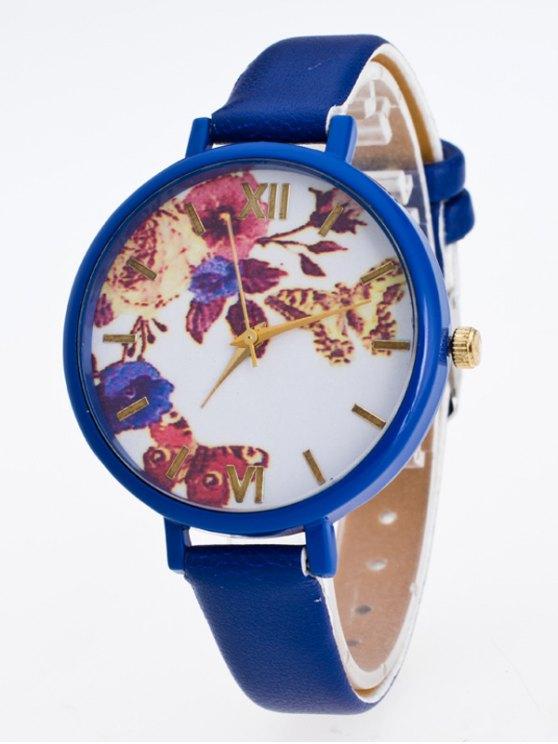 Faux Leather Flower Butterfly Watch - BLUE  Mobile