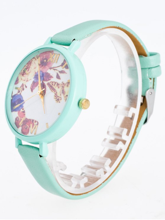 Faux Leather Flower Butterfly Watch - MINT GREEN  Mobile