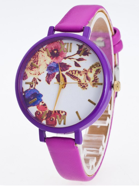 Faux Leather Flower Butterfly Watch - PURPLE  Mobile