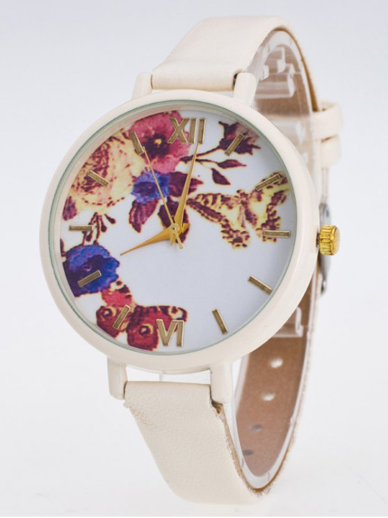 Faux Leather Flower Butterfly Watch - PALOMINO  Mobile