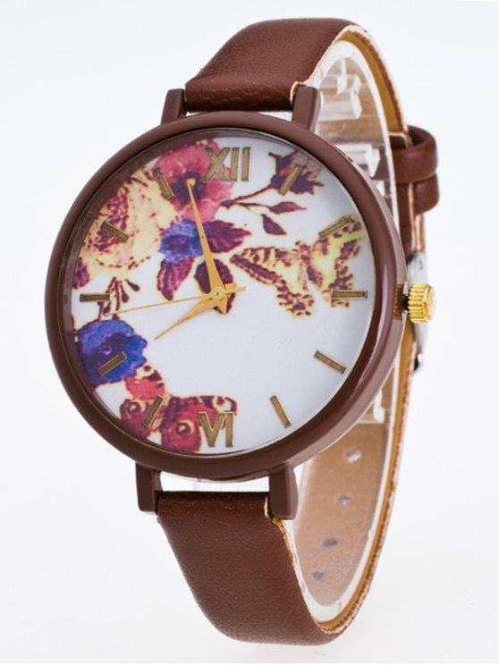 Faux Leather Flower Butterfly Watch - COFFEE  Mobile