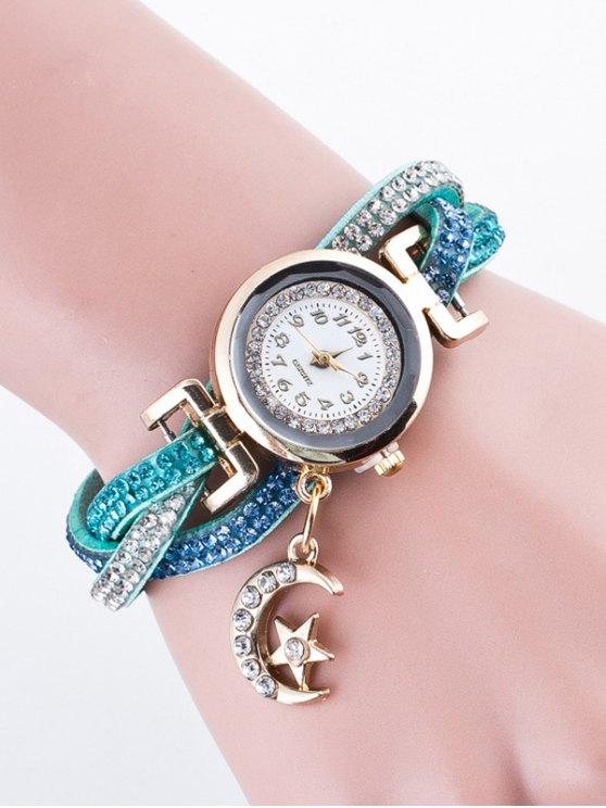 Rhinestone Studded Bracelet Watch - LIGHT BLUE  Mobile
