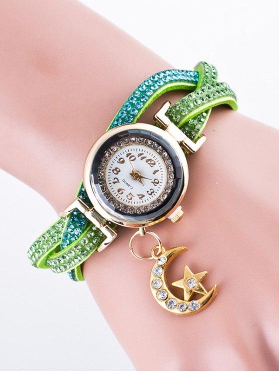 Rhinestone Studded Bracelet Watch - GREEN  Mobile