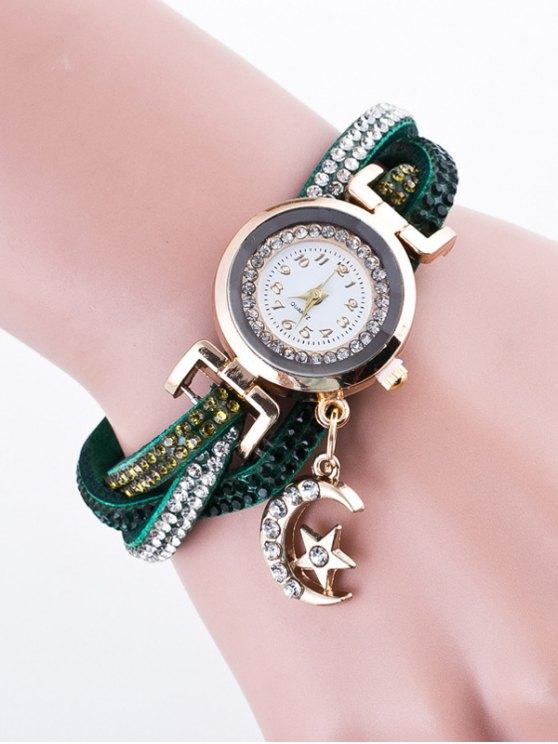 Rhinestone Studded Bracelet Watch - DEEP GREEN  Mobile