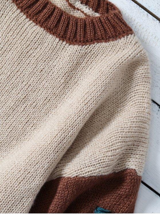 Patched Slash Neck Color Block Sweater - KHAKI ONE SIZE Mobile