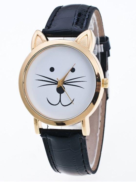 Faux Leather Cartoon Cat Watch - BLACK  Mobile