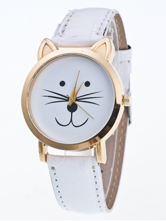 Faux Leather Cartoon Cat Watch - WHITE  Mobile
