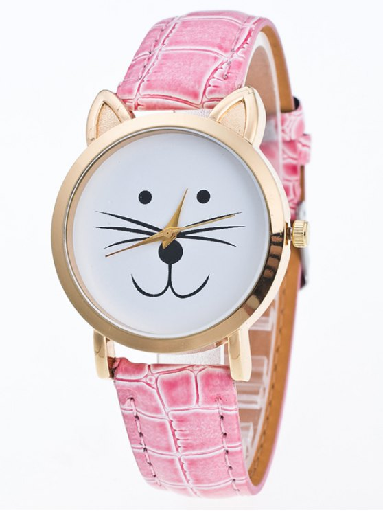 Faux Leather Cartoon Cat Watch - PINK  Mobile