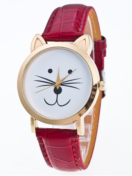 Faux Leather Cartoon Cat Watch - RED  Mobile