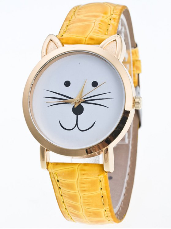 Faux Leather Cartoon Cat Watch - YELLOW  Mobile