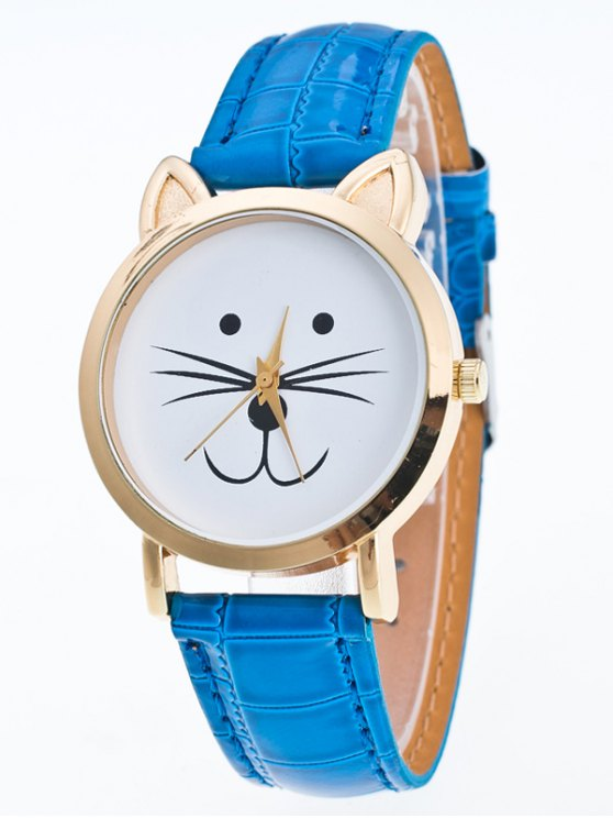 Faux Leather Cartoon Cat Watch - BLUE  Mobile