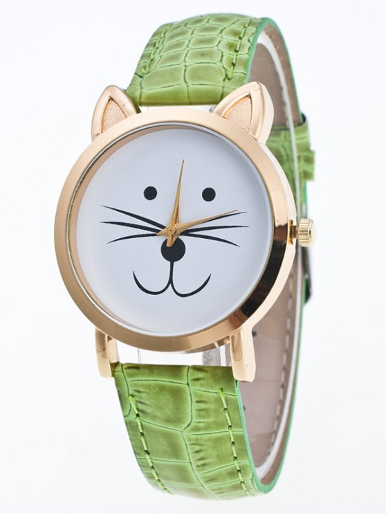 Faux Leather Cartoon Cat Watch - GREEN  Mobile