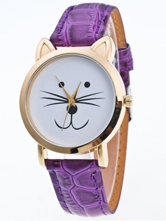 Faux Leather Cartoon Cat Watch - PURPLE  Mobile