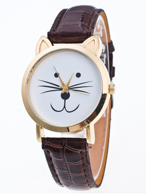 Faux Leather Cartoon Cat Watch - COFFEE  Mobile
