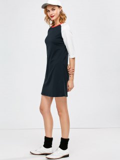 Raglan Sleeve Tunic T-Shirt Dress - Purplish Blue M