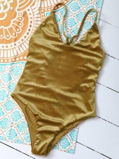 Reversible Cross Back Pleuche Swimwear - Gold Brown L