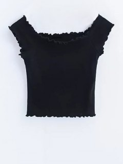 Off Shoulder Ruffles Crop Top - Black S