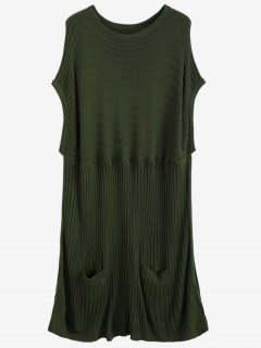 Ribbed Short Sleeve Poncho Sweater - Army Green S