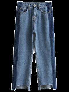Frayed Mom Fit Jeans - Denim Blue S