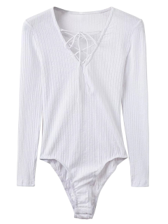 Skinny Ribbed Lace Up Bodysuit - White M