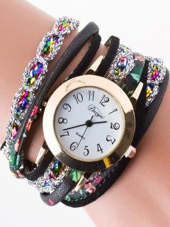 Rhinestone Wrap Bracelet Watch - Black