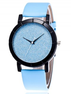 Faux Leather Glitter Analog Watch - Blue