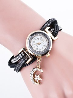 Rhinestone Studded Bracelet Watch - Black