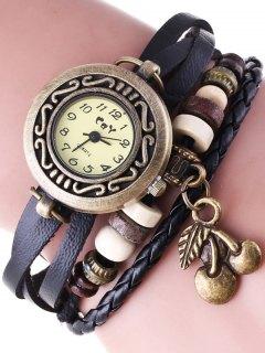 Montre Bracelet En Faux Cuir  - Noir