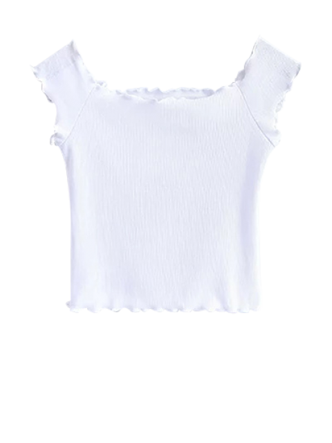 chic Off Shoulder Ruffles Crop Top - WHITE S Mobile