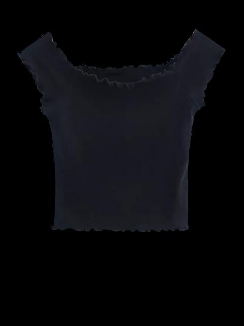 sale Off Shoulder Ruffles Crop Top - BLACK M Mobile