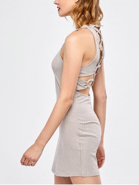 affordable Lace Up Backless Bodycon Dress - LIGHT GRAY S Mobile