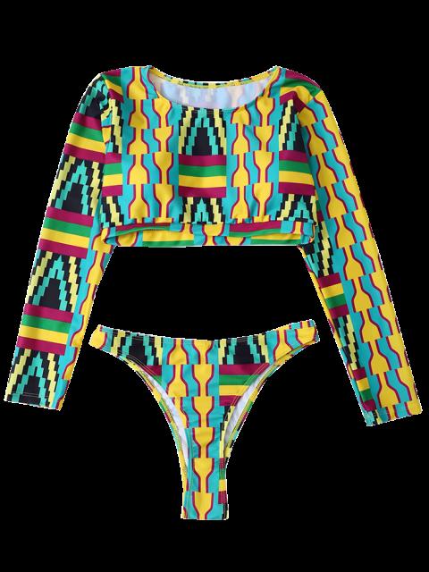 women Cropped High Cut Rashguard Bikini Set - MULTICOLOR S Mobile