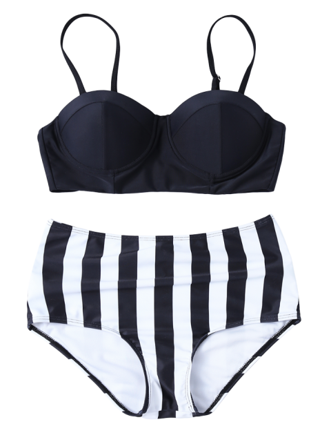 outfits Striped High Waisted Underwired Bikini - BLACK S Mobile