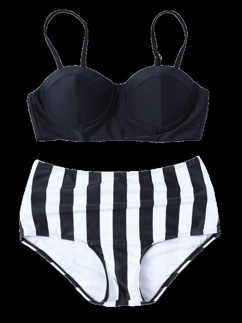hot Striped High Waisted Underwired Bikini - BLACK L Mobile
