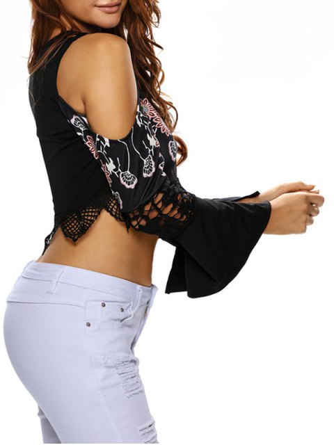 outfit Flare Sleeve Cold Shoulder Printed Cropped Top - BLACK S Mobile