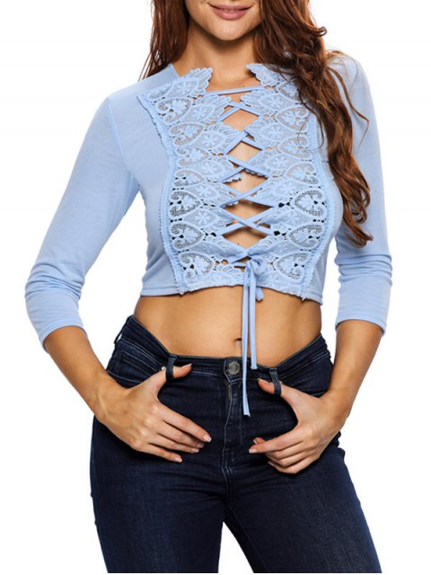 trendy Lace Up Hollow Out Cropped Top -   Mobile