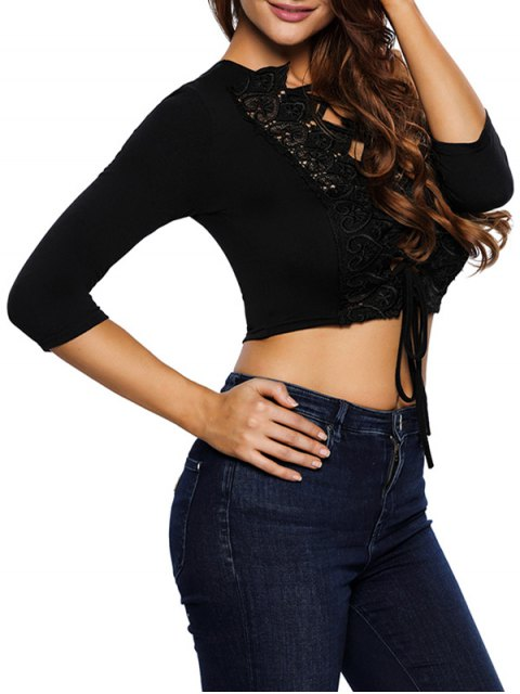chic Lace Up Hollow Out Cropped Top -   Mobile