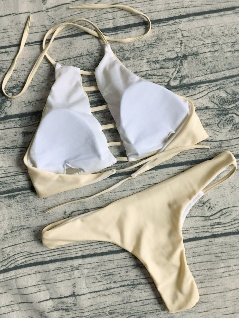 affordable String Cut Out Bikini Set - APRICOT M Mobile
