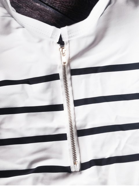 outfit Zip Front Striped Swimsuit - WHITE AND BLACK M Mobile