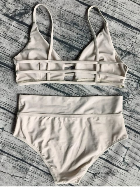 sale Unlined High Waist Bikini Set - APRICOT S Mobile