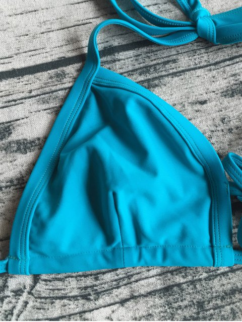 latest Cut Out Banded Plunge Bikini - LAKE BLUE S Mobile