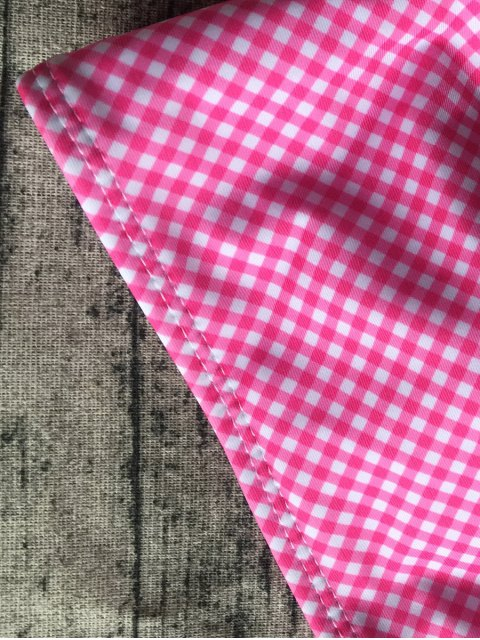 outfits Side Tie Halter Plaid Bikini Set - PLUM S Mobile