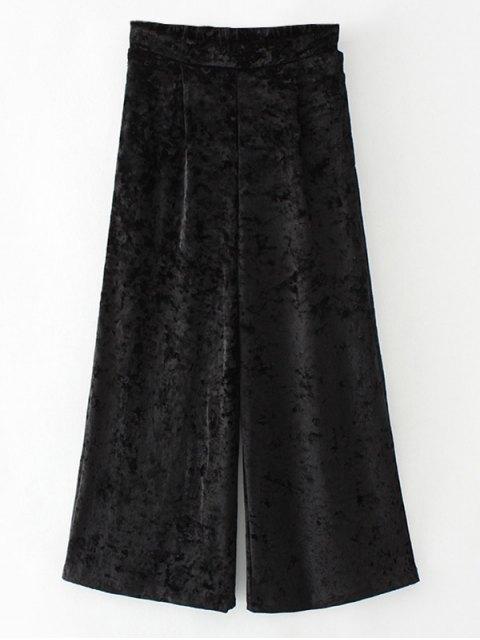 lady Loose Velvet Wide Leg Pants - BLACK S Mobile