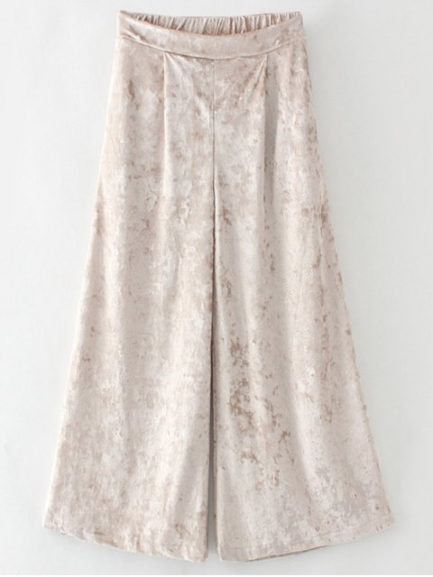 trendy Loose Velvet Wide Leg Pants - GOLDEN L Mobile