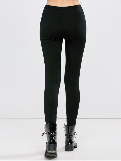 fancy Distressed Footless Leggings - BLACK L Mobile